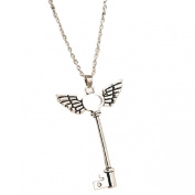 Doinshop New Silver Long Chain Necklace Jewellery Angel Wings Pendant