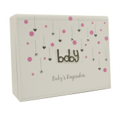 White and Pink Faux Leather Baby Girl Keepsake Box Gift