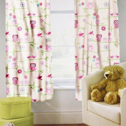 Shopisfy Children's Toddler Bedroom Nursery Colourful Printed Bedding, Curtain Pair 170cm x 140cm - Owls