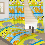 Childrens Junior Cot Bed Colourful Animal Print Complete Bedding Duvet Cover Set with Matching Curtains. Set Includes