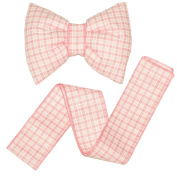 Decorative Bow with Ribbon for Baby Nursery Room Curtains / Canopy / Drape Decoration - cheque PINK