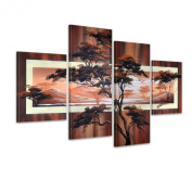 Bilderdepot24 paintings African savannah M3 hand-painted Canvas Artwork 47.24 inch x 31.50 inch ( 120x80cm ) 4 pieces 440