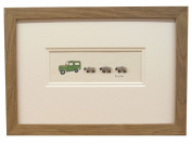 Penny Lindop Designs - Framed Woolly Sheep Picture - Land Rover And Sheep - Handmade In Britain