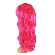 Tinxs Long Wavy Fancy Dress Wigs With Fringe Pink