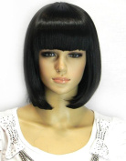THZ Women's Bob Stylish Medium Black Colour Heat Resist Cospaly party Hair Wig