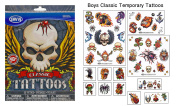 Boys Classic Temporary Tattoos - 50+ assorted tattoos