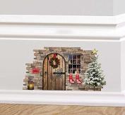 Full Colour Christmas Fairy Pixie Elf Door Festive Wall Sticker Decal Skirting Board Xmas Decoration Wreath Stockings Christmas Tree
