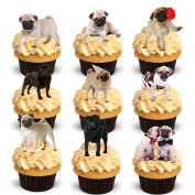 27 Stand Up Cute Pug Dog Edible Wafer Paper Cake Toppers Decorations
