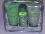 Cool Melon Bath Set Body Wash, Bubble Bath, Body Lotion & a Mesh Pouffe