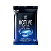 Snake Brand Active Anti-bacterial Extra Cooling Refreshing Wipe - 20 sheets per pack ; Feeling cool for 30 minutes with menthol scent
