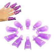 10PC Plastic Acrylic Nail Art Soak Off Cap Clip UV Gel Polish Remover Wrap Tool Purple