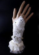 Exquisite Fingerless Lace with Rhinestone Bridal Glove