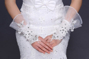 Exquisite Fingerless Lace Rhinestone Bridal Glove