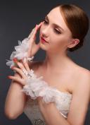 Exquisite Fingerless Lace Rhinestone Bridal Glove