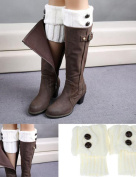 OVERMAL Useful Women Winter Leg Warmer Button Crochet Knit Boot Socks Topper Cuff