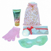Luxurious Bath Spa Gift Set, 3 Large Bath Bombs, 180ml Body Lotion, Exfoliating Scrub Glove, Eye Mask , Beautiful Organza Bag with Gold Letter Ornament
