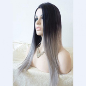 Superwigy Most Popular Cheap Ombre Wig Womens Lady's Long Stright Wigs Two Tone Black to Grey Synthetic Hair Wigs Soft Degree