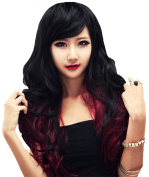 Superwigy Synthetic Women Curly Wavy Black with Wine Cosplay Party Long Hair Full Wig
