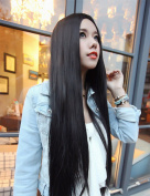 Superwigy® 80CM Harajuku Anime Young Long Straight Synthetic Hair Wig No Bangs Natural Black Soft Wigs for Women