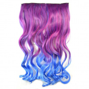 Awbin 60cm Rosy Red Ombre to Royal Blue Colour Curly Curl Wavy Full Head Clip in Hair Extension