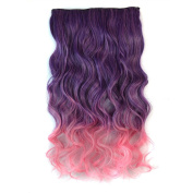 Awbin 60cm Purple Ombre to Pink Colour Curly Curl Wavy Full Head Clip in Hair Extension