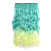 Awbin 60cm Peacock Green Gradient to Vanilla Colour Ombre Curly Curl Wavy Full Head Clip in Hair Extension
