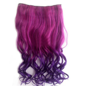 Awbin 60cm Rosy Red to Purple Ombre Colour Curly Curl Wavy Full Head Clip in Hair Extension