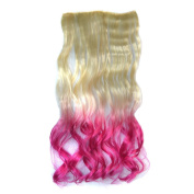 Awbin Beige to Rosy Red Omber Curly Curl Wavy High Temperature Synthetic Fibre Hair Extensions for Woman Girl Lady