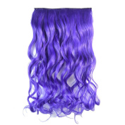 Awbin 60cm Purple Curly Curl Wavy Full Head Clip in Hair Extension