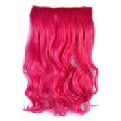 Awbin 60cm Hot Pink Rosy Red Curly Curl Wavy Full Head Clip in Hair Extension