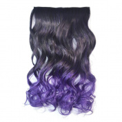 Awbin 60cm Black to Dark Purple Ombre Curly Curl Wavy Full Head Clip in Hair Extension