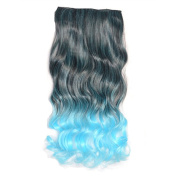 Awbin 60cm Black to Sky Blue Ombre Curly Curl Wavy Full Head Clip in Hair Extension