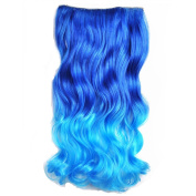 Awbin 60cm Sapphire to Dream Blue Ombre Curly Curl Wavy Full Head Clip in Hair Extensions