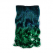 Awbin 60cm Dark Blue to Grass Colour Ombre Curly Curl Wavy Full Head Clip in Hair Extension