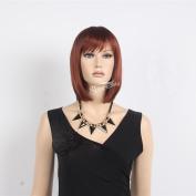 STfantasy 25cm Nice Design Medium Long Straight Brown Kanekalon Wig for Women