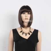 STfantasy 25cm Pretty Medium Long Straight Black Kanekalon Wig for Lady