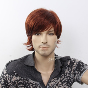 STfantasy 20cm Handsome Medium Straight Brown Synthetic Wig for men
