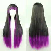 "Women/ladies 28"" 70cm Long Straight Hair Black Mixed with Blue Gradient Cosplay/costume/anime/party/bang Full Sexy Wig"