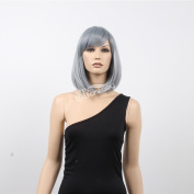 STfantasy 25cm Cute Medium Bob Grey Kanekalon Wigs for Female