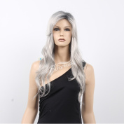 STfantasy 60cm Sexy Long Straight Light Grey Full Wig for White Women