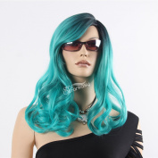 STfantasy 60cm New Design Long Curly Wave Green Colour Wig for Women