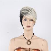 STfantasy 20cm Lady's Fashion Short Black-white Mixed Colour Hair Wigs