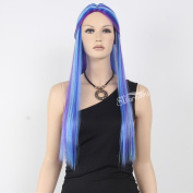 STfantasy 60cm Hot Fashion Long Straight Mixed Colour Synthetic Cosplay Wig