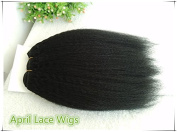 Kinky Straight 25cm Colour #1 Jet Black Human Hair Wefts Extensions--25cm