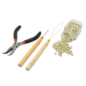 E-TING 500 Micro Hair Extension Rings Beads & Pliers Hook Loop Needle Tool 5 Colours