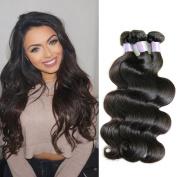 "Nefertiti Hair Brazillian Raw Virgin Hair Bundles (16""18""20"") Brazilian Body Wave Natural Black Colour 3-pack Brazilian Human Hair Body Weaves"