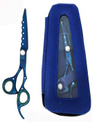 ZZZRT ZD-4444 15cm High Quality J2 Japanese Steel Professional Razor Edge Titanium Hairdressing Scissor Shear Diamonds Coated Blue + FREE Scissor Pouch & Free Scissor Lubricant and Scissor Insert Rings