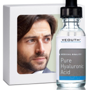 Men's Hyaluronic Acid Serum for Face - 100% Pure Medical Quality Clinical Strength Formula! Satisfaction Guaranteed. Holds 1,000 Times Its Own Weight in Water - Plumps and Hydrates - All Natural