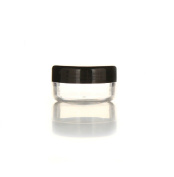 Moyishi 12 New Empty Cosmetic Storage Containers Black Cap Clear Base Plastic Cosmetic Containers 10 Gramme Pot Jars Eye Shadow Container Lot