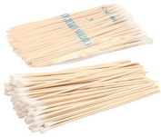 100 Count 15cm Single Ended Cotton Swabs With Wooden Sticks